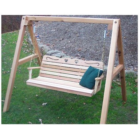 Creekvine Designs WF4020A60CVD 6 ft. Cedar Country Hearts Porch Swing with - Heart Swing