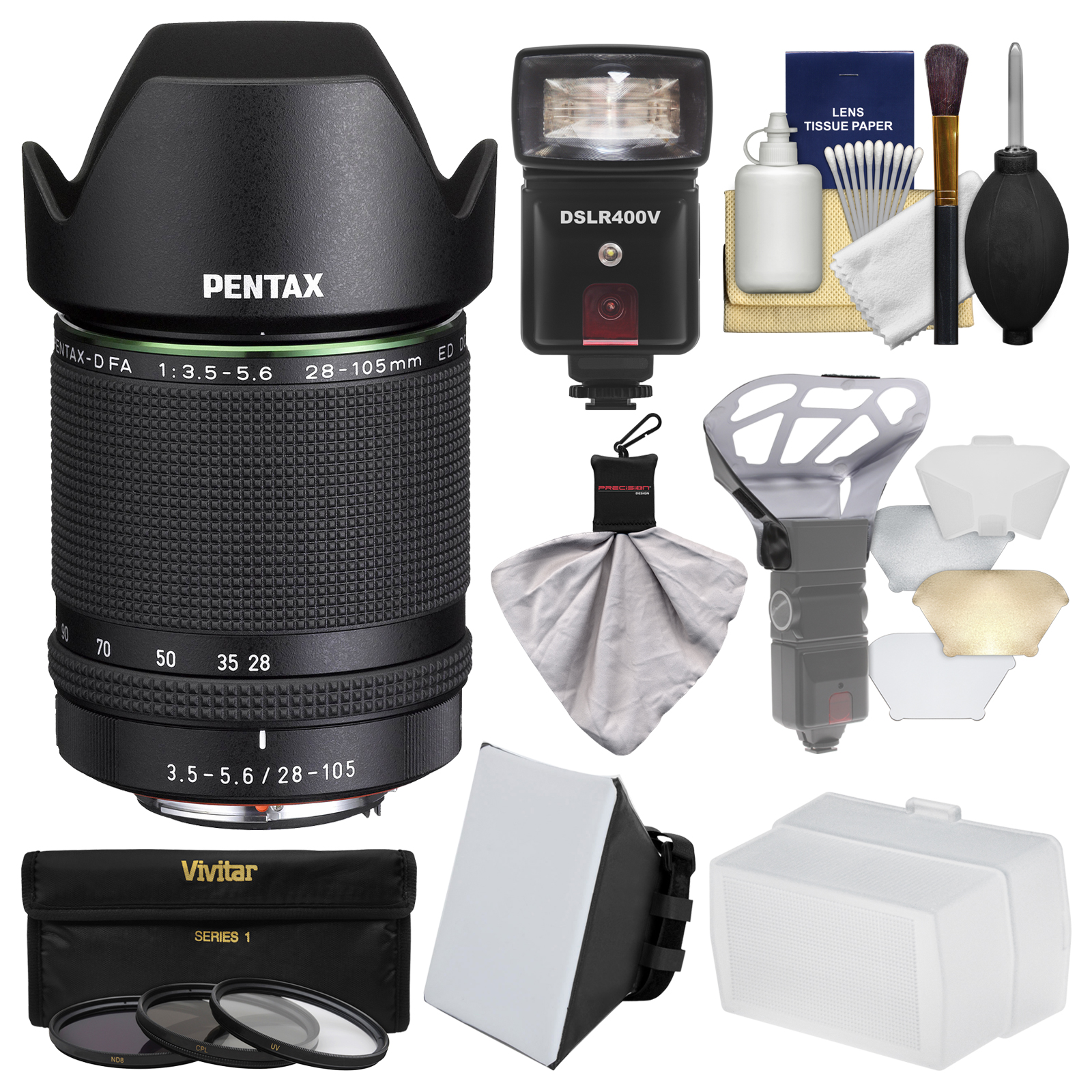 Pentax HD-D FA 28-105mm f/3.5-5.6ED DC WR Zoom Lens with Flash + Soft Box + Diffuser + 3 Filters Kit