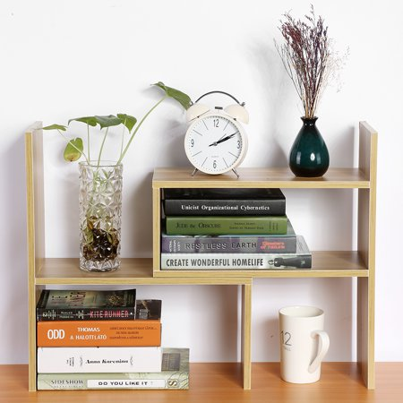 HURRISE DIY Table Desktop Storage Rack Display Shelf Organizer Counter Top Bookcase ()