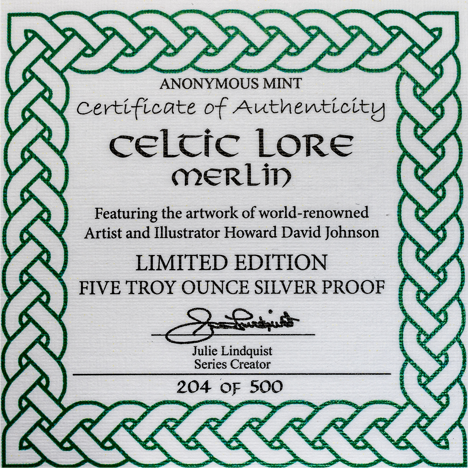 Osborne Mint 5 Oz Silver Proof Round Celtic Lore Merlin