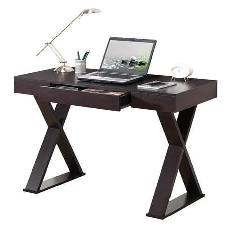 Espresso Home Office Set - Techni Mobili Trendy Writing Desk with Drawer, Espresso