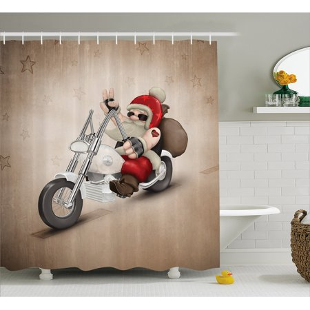 Christmas Shower Curtain, Rock Grunge Santa with Heart Tattoo on Motorbike Delivery Bikie Peace Theme, Fabric Bathroom Set with Hooks, Red and Cream, by Ambesonne