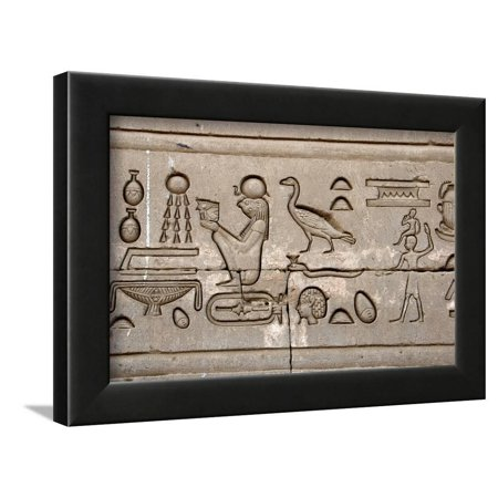 Ancient Egyptian Hieroglyphs Carved on the Wall of Hathor Temple Framed Print Wall Art ()