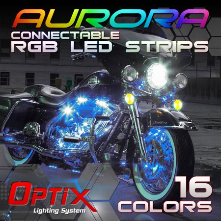 Optix Aurora 10pcs Motorcycle or Car RGB LED Strip Kit with 16 Colors RGB Accent Lighting Neon Glow Universon Interior Exterior 5050 LED Chip w/ 2 Remotes ()
