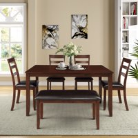CLEARANCE! Dining Set Kitchen Table with 4 Piece Chairs and Bench, Dinette Set Wood Rectangular Breakfast Table with Thick Legs & Brown Finish Frame, for an Apartment Breakfast, Brown, S12647