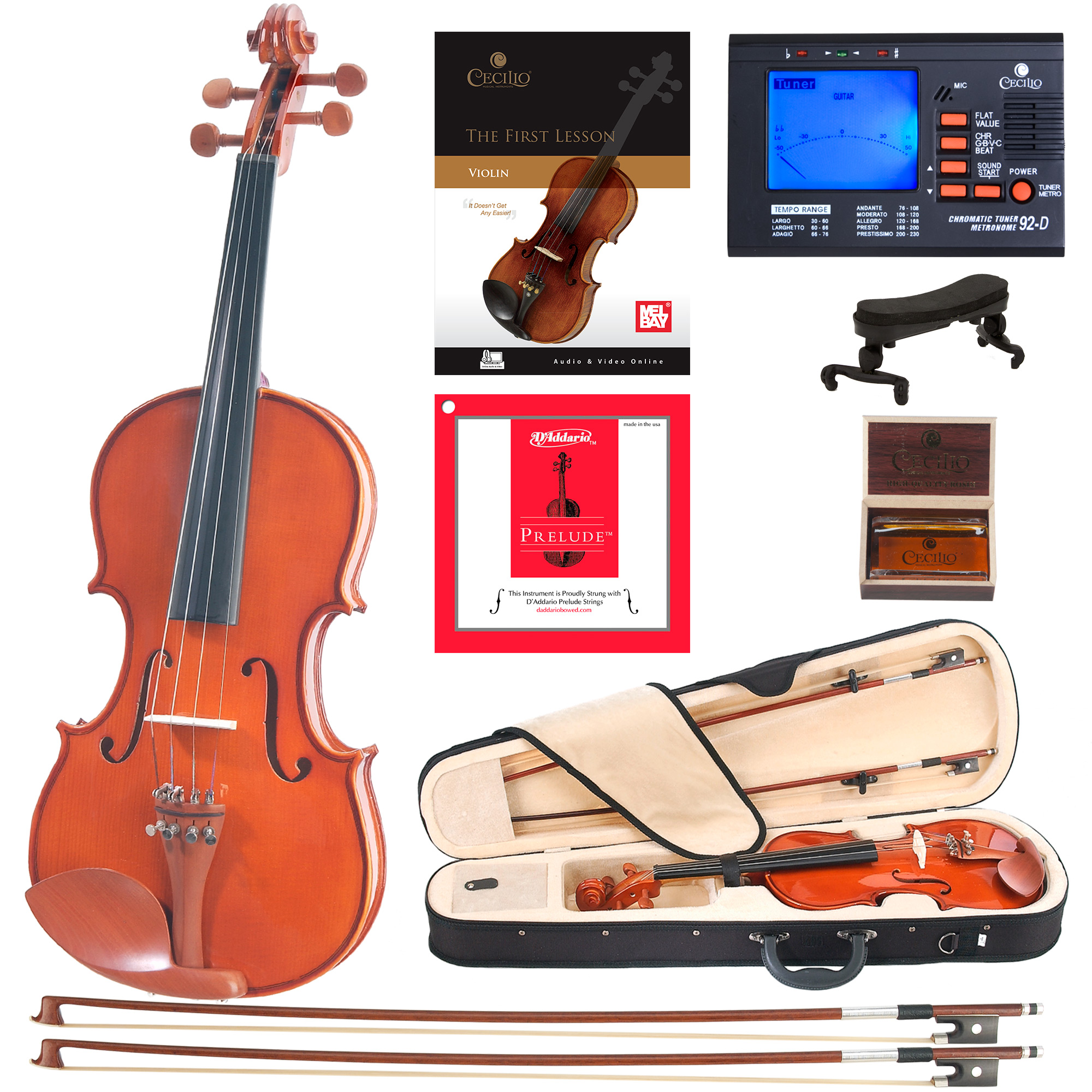 Cecilio Full Size 4/4 CVN-200 Solid Wood Violin with D'Addario Prelude Strings, Lesson