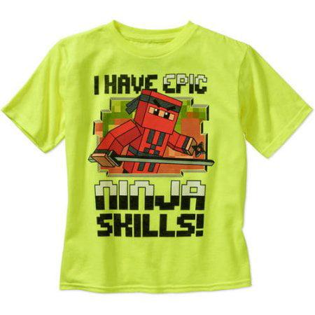 8b762d50a Minecraft - Boys' Epic Ninja Skills Cotton/Poly Crew Neck T-Shirt ...
