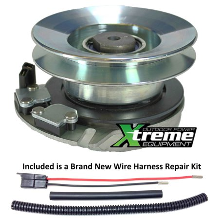 Bundle - 2 items: PTO Electric Blade Clutch, Wire Harness Repair Kit.  Replaces Craftsman Sears Clutch 917-04376A -Upgraded Bearings w/ Wire Repair Kit
