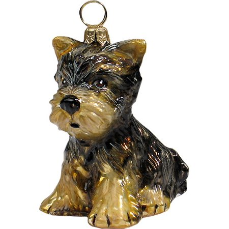 Yorkshire Terrier Yorkie Puppy Dog Polish Blown Glass Christmas Ornament