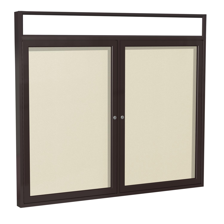 PBVX5-181 Ghent 2 Door Enclosed Vinyl Bulletin Board with Bronze Headliner Frame Wall Mounted TackBoard, 3'H x 4'W, Caramel