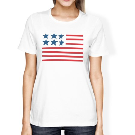 Image of USA Flag Womens White Cotton Tee For Independence Day Gift For Her