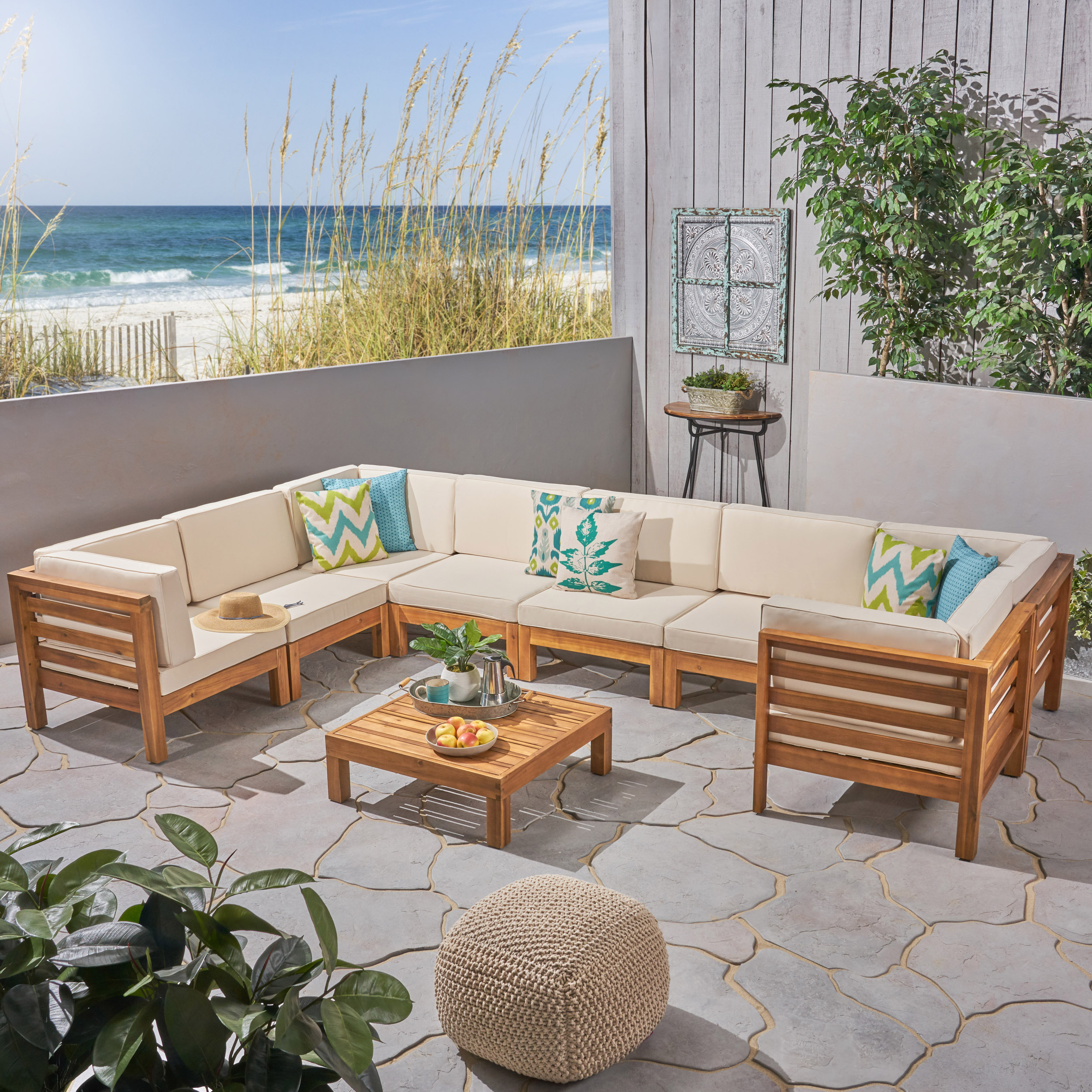 Frankie Outdoor 9 Piece Acacia Wood U-Shaped Sectional Sofa Set with Coffee Table and Cushions, Teak, Beige