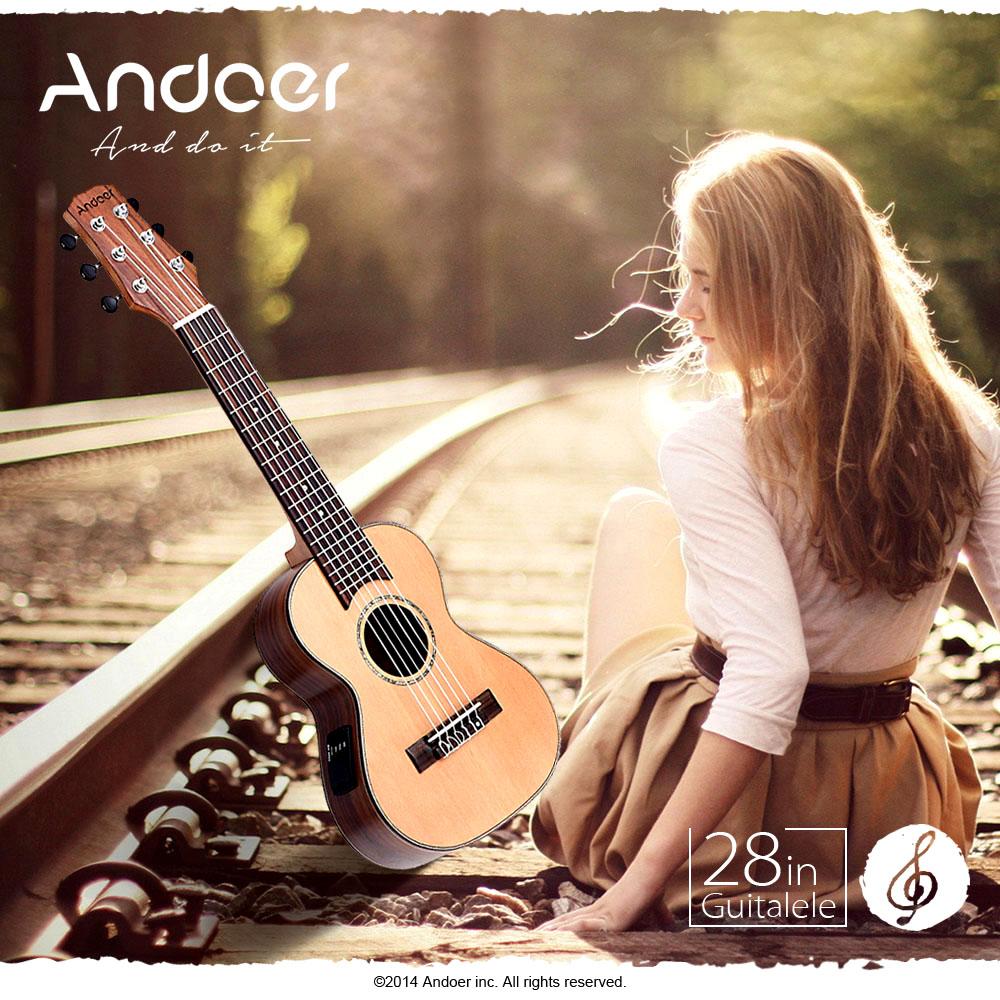 "Andoer 28"" Guilele Travel Guitar Solid Cedar Rosewood Plywood Mahogany Ox Bone... by"