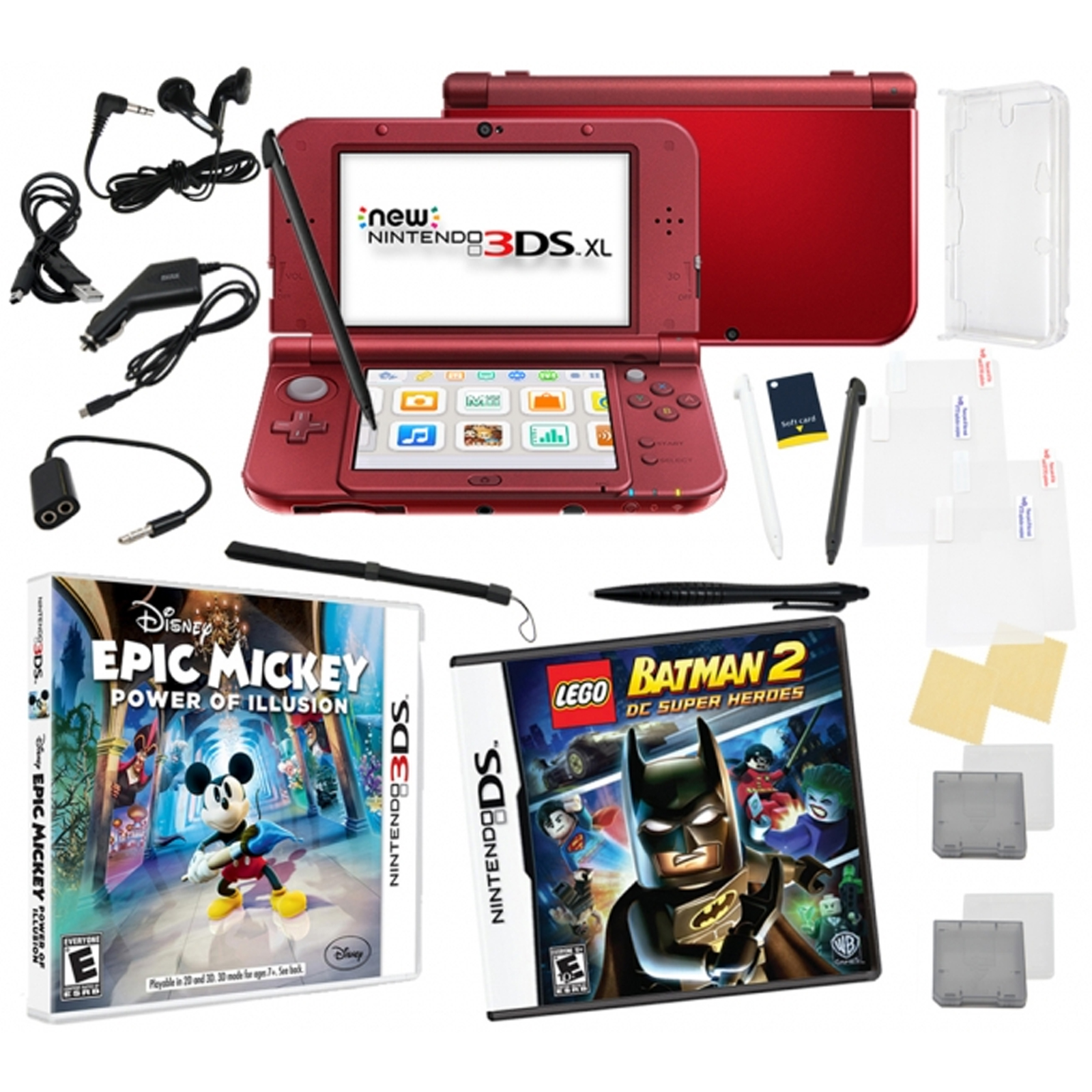 new nintendo 3ds xl black bundle with 2 games 17 in 1 kit. Black Bedroom Furniture Sets. Home Design Ideas