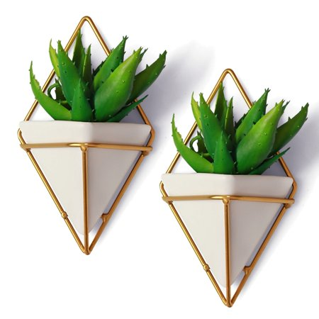 2 Small Decorative Geometric Hanging Planters Pot for Indoor Wall Decor, Planter For Succulent Plants, Air Plant, Cacti, Faux / Artificial Plants, White Ceramic / Brass, by California Home (Wall Planter)