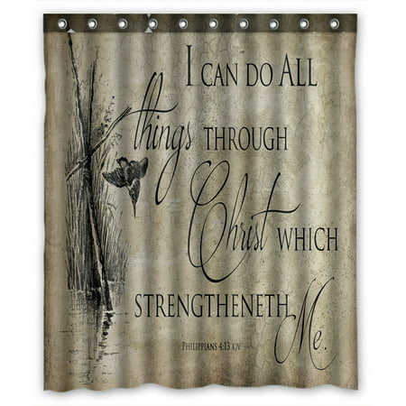 PHFZK Inspirational Shower Curtain Bible Verse Polyester Fabric Bathroom 60x72 Inches