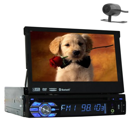 Free Rearview Backup Camera + 1 Din GPS Navigation In Dash Car Stereo Headunit Deck 7 Inch Touchscreen Radio AM FM Bluetooth Steering Wheel Control Car Audio CD VCD VCD MP3 Player SD