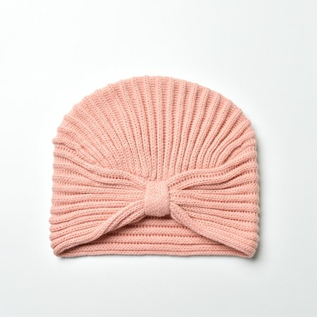 Soft Acrylic Knitted Pink Crochet Front Knotted Beanie Hat
