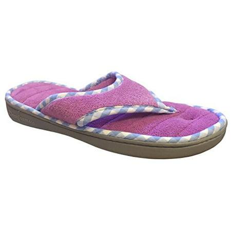 Dearfoams Women's Memory Foam Flip-Flop Terry Thong Sandals (X-Large/11-12 B(M) US, Iris)