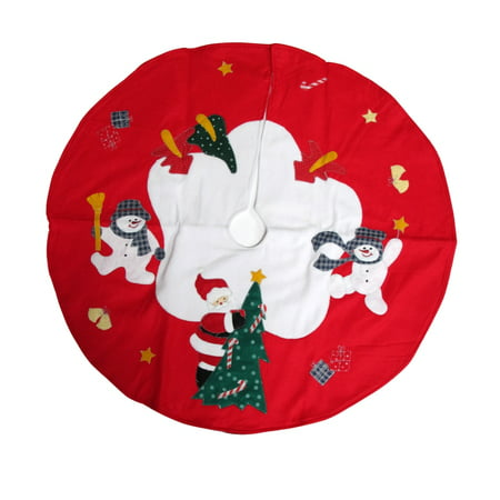Imperial Home Santa Claus and Snowman Xmas Red Polyester 36-inch Christmas Tree Skirt ()