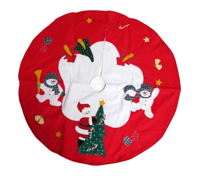 Imperial Home Santa Claus and Snowman Xmas Red Polyester 36-inch Christmas Tree Skirt