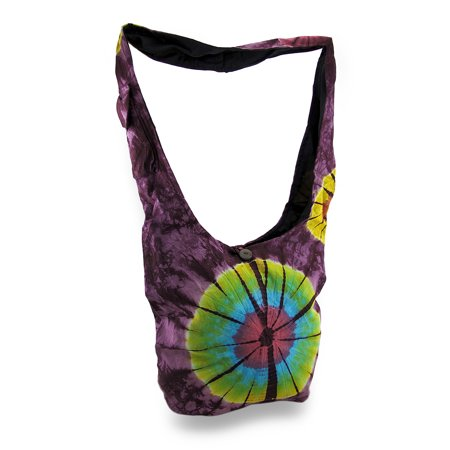 Tie Dye Bags (Colorful Cotton Tie Dye Bursts Sling Bag w/Cell Phone)