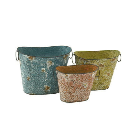Decmode Set of Three - 12, 13 and 15 Inch Farmhouse Tin Oval Basket Planters, Brown