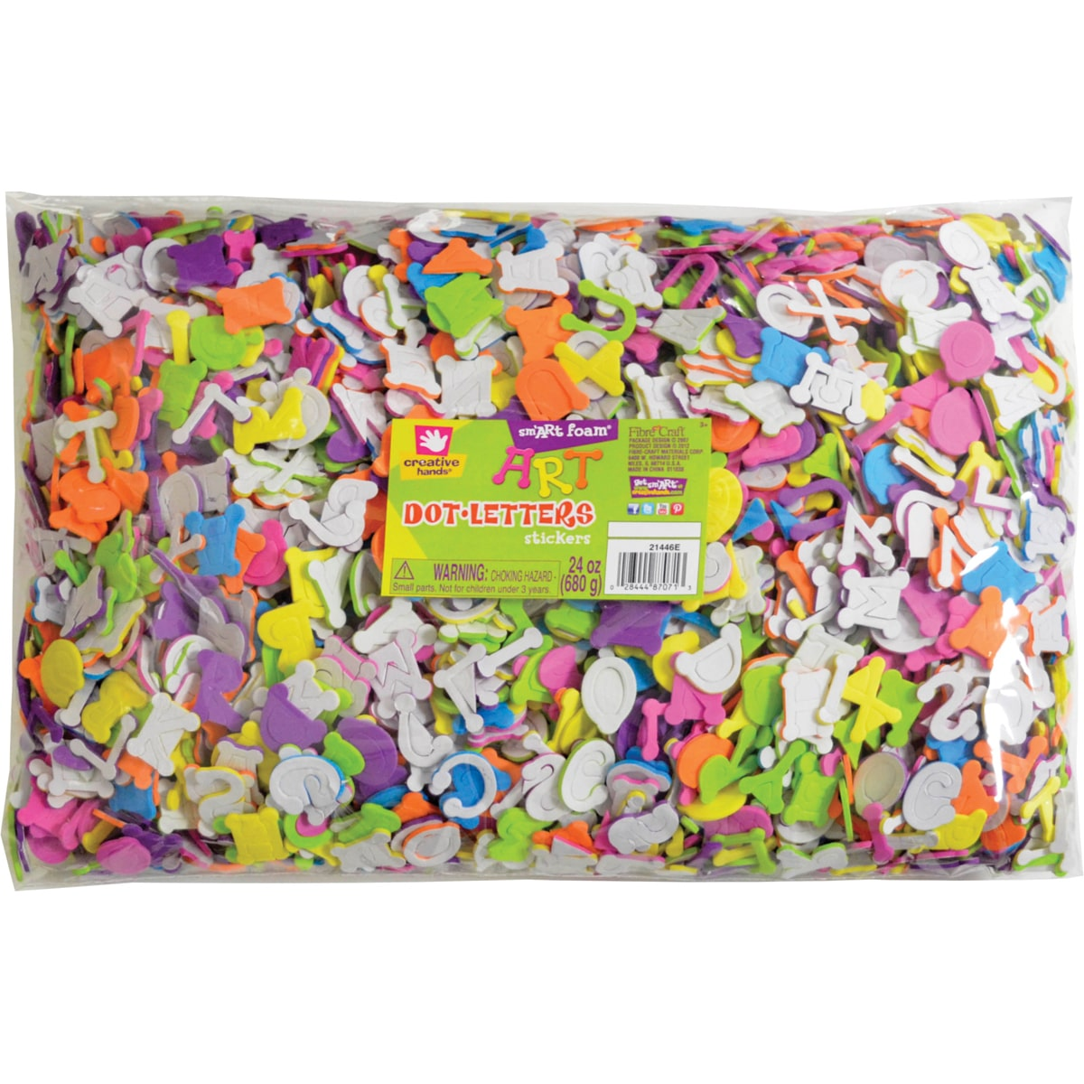 Fiber Craft Foam Sticker Jumbo Bag, 24-Ounce, Assorted Colors