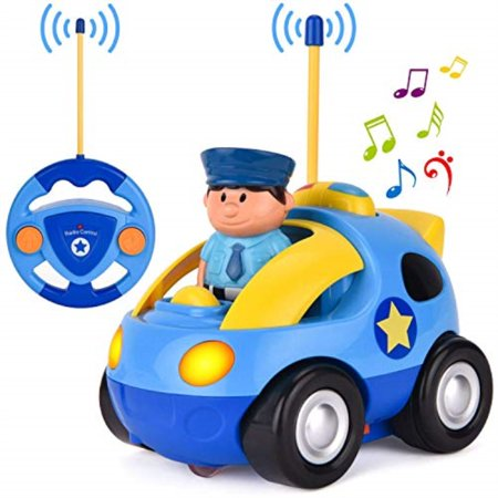 Liberty Imports My First RC Cartoon Car Vehicle 2-Channel Remote Control Toy | Music, Lights & Sound for Baby, Toddlers, Kids (Police