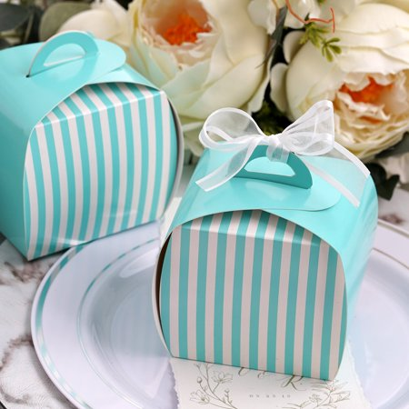 Efavormart Lovable Striped Cupcake Purse Favor Boxes for Candy Treat Gift Wrap Box for Bridal Shower Anniverary Wedding Party 10pc