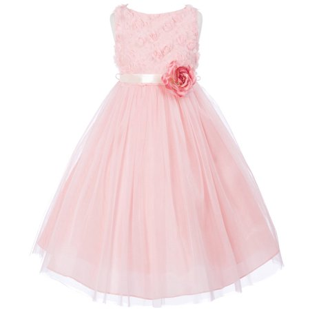 Big Girls' Chiffon Rosebud Tulle Birthday Party Wedding Flower Girl Dress Rose Size 12 - Flower Girl Blue Dress