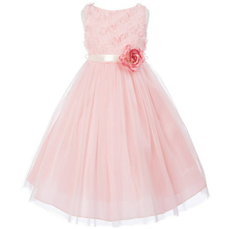Big Girls' Chiffon Rosebud Tulle Birthday Party Wedding Flower Girl Dress Rose Size 12 (M27B8K)
