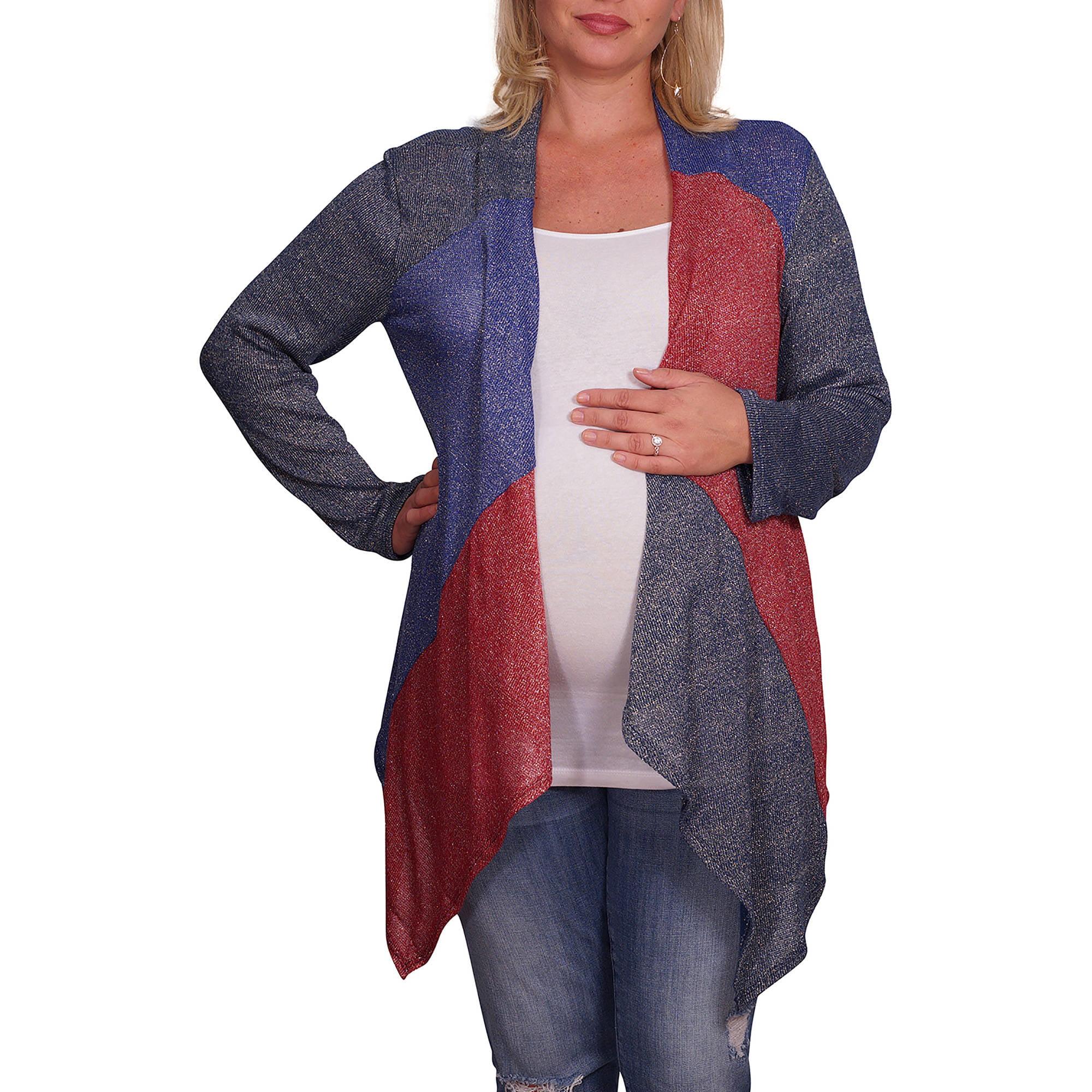 Mommylicious Maternity Plus Maternity Metallic Draped Front Cardigan