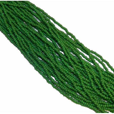 Green Opaque Preciosa Czech Glass 6/0, Loose Seed Beads, on Loose Strung 6 String Hank