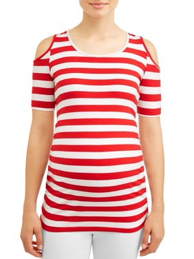 Oh! Mamma Maternity stripe cold shoulder knit top - available in plus sizes