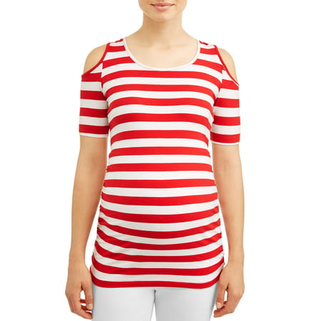 Oh! MammaMaternity stripe cold shoulder knit top - available in plus sizes - Halloween Maternity Shirts Plus Size