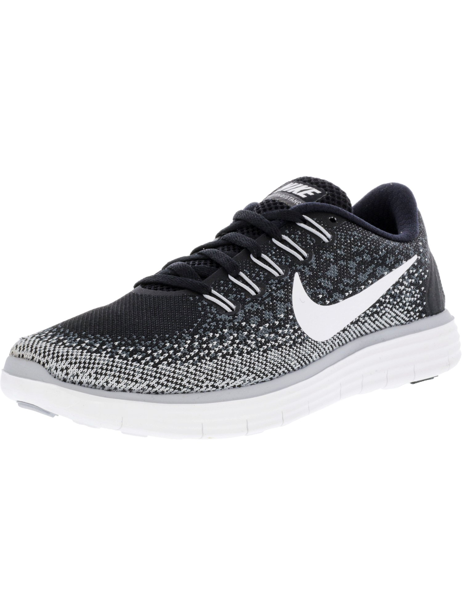 96f30f0186f09 Nike Women s Free Rn Distance Black   White Dark Grey Wolf Ankle-High Running  Shoe - 6M
