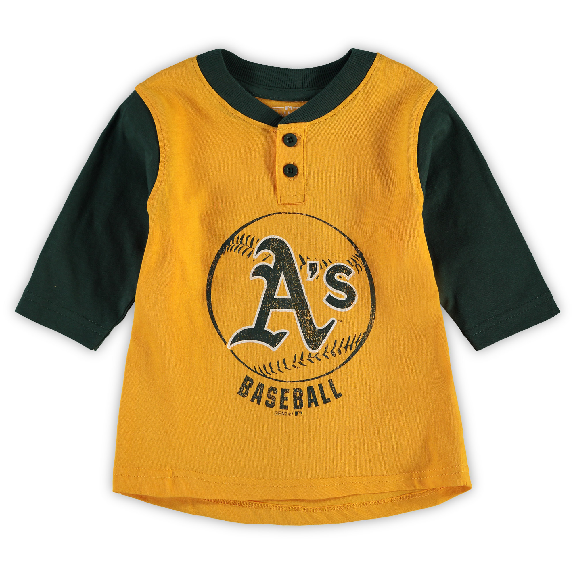 Oakland Athletics Toddler Legacy Henley 3/4-Sleeve T-Shirt - Yellow/Green