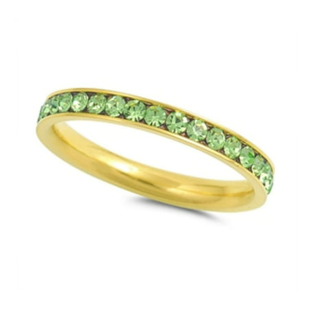 Stainless Steel Peridot Color Eternity Ring With
