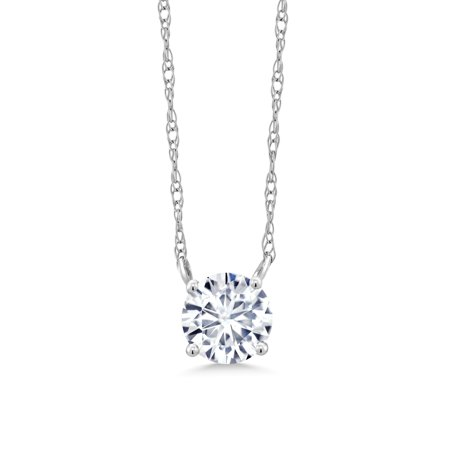 18K White Gold Necklace Forever One Colorless DEF Round Created Moissanite  5mm
