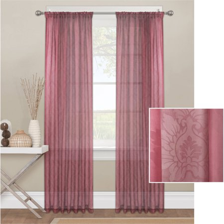 Mainstays Toile Textured Sheer Window Curtain Panel
