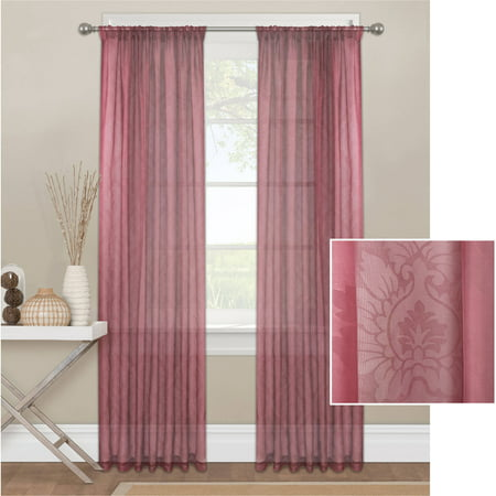 Mainstays Toile Textured Sheer Window Curtain (Toile Scalloped)