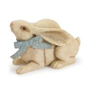 "Melrose 11"" Lop Eared Bunny Rabbit with Bow Spring Easter Decoration - Blue"
