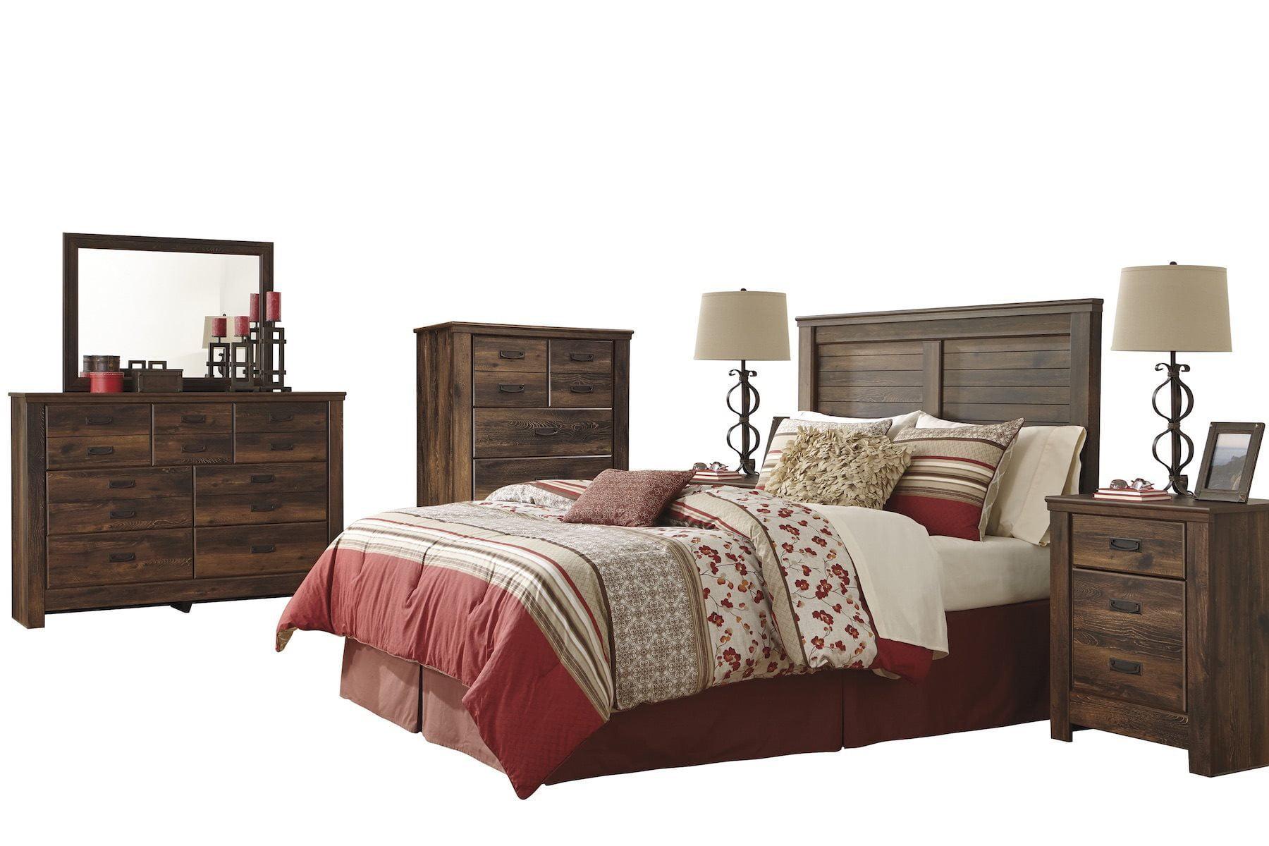 Ashley Furniture Quinden 6 Pc E King Panel Headboard Bedroom Set W 2 Nightstand And Chest Dark Brown Walmart Com Walmart Com