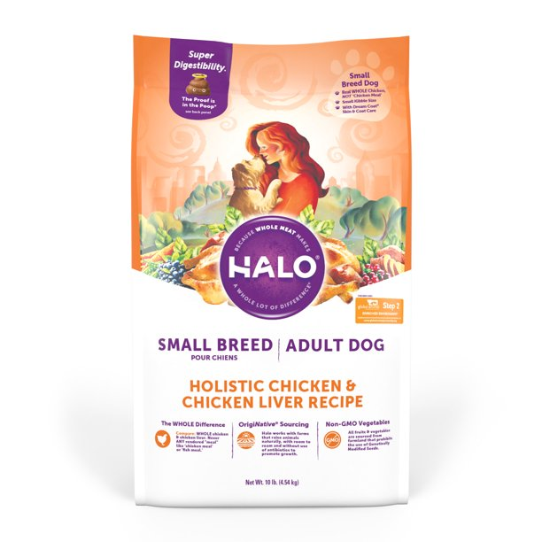 Halo Natural Dry Dog Food, Small Breed Chicken & Chicken Liver Recipe, 10-Pound Bag