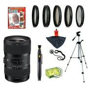 Sigma 18-35mm F1.8 DC HSM ART Lens with UV, CPL, FLD, ND4,+10 Macro Filters and Bundle for Nikon D7100, D7000, D5300, D5200, D5100, D3300, D3200 and D3100 Digital SLR Cameras