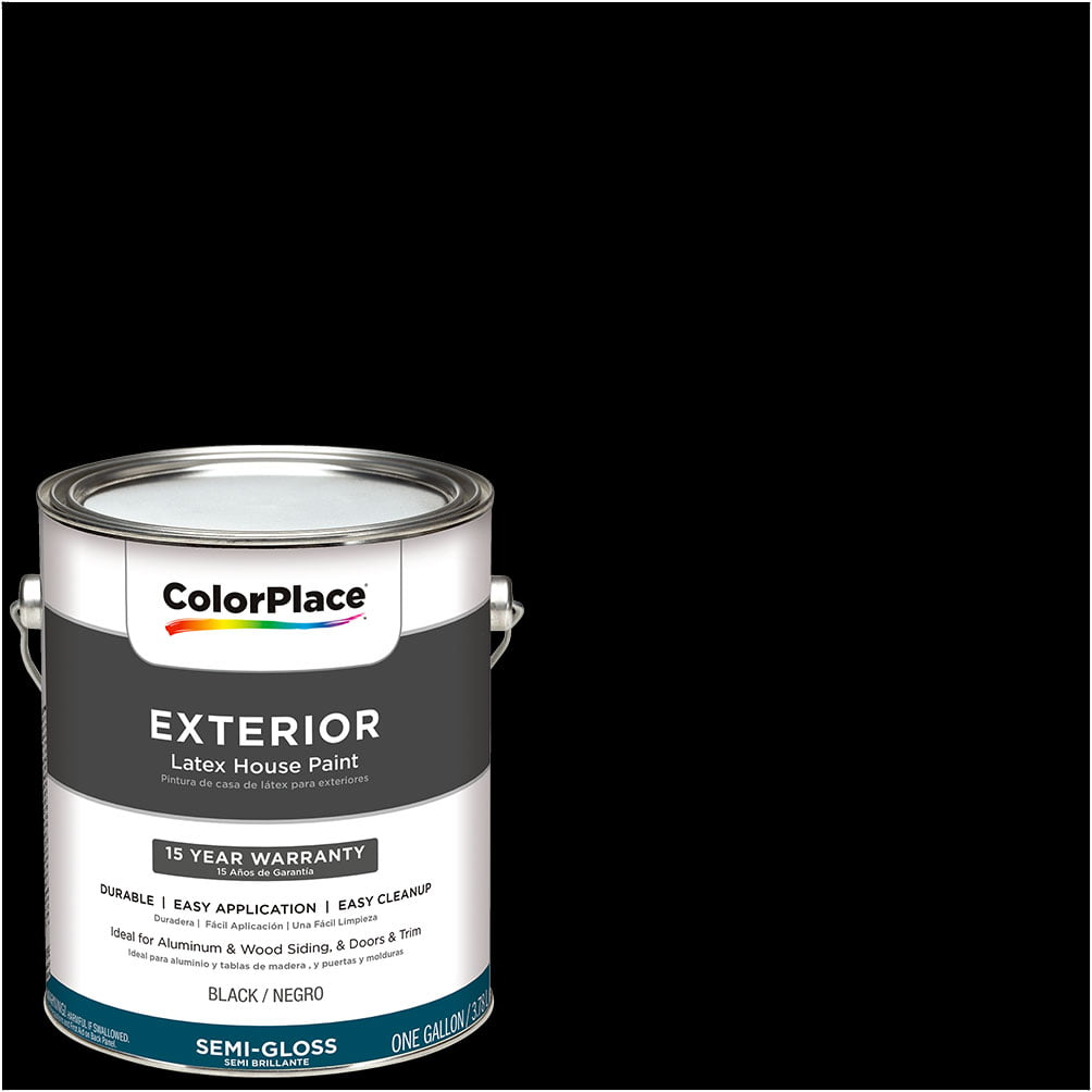 ColorPlace Exterior Paint, Black, Semi-Gloss Finish, 1 Gallon by PPG Architectural Coating
