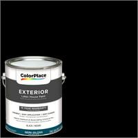 ColorPlace Exterior Paint, Black, Semi-Gloss Finish, 1 Gallon
