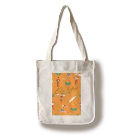 Cape May, New Jersey - Beach Pattern - Lantern Press Artwork (100% Cotton Tote Bag - Reusable)