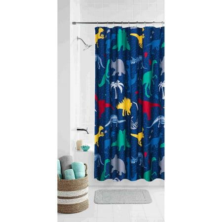 Mainstays Kids Dino Roam Coordinating Fabric Shower Curtain ...